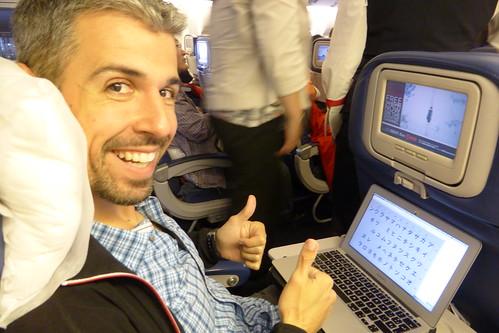 Aprendiendo japonés en el avión