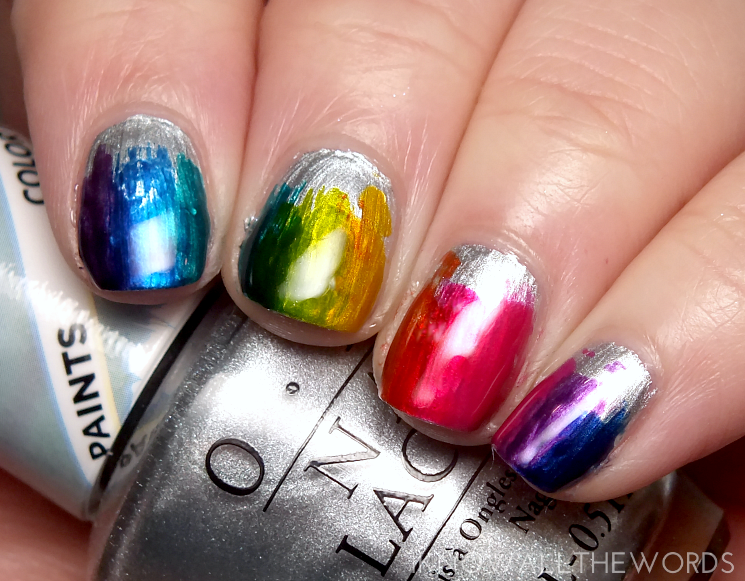 opi colour paints rainbow brush nail art