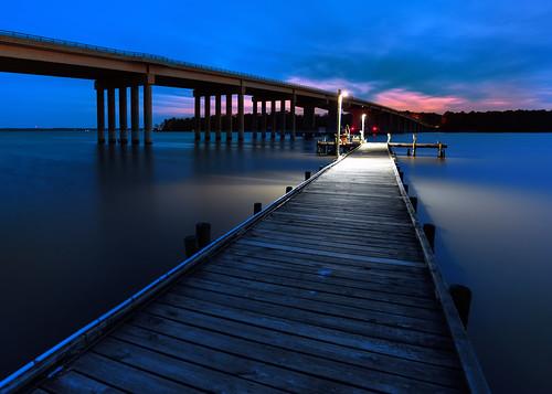 longexposure bridge blue sunset usa water night river dark photography lights virginia pier twilight fishing dock moody dusk perspective after bluehour dim waterway