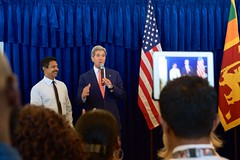 U.S. Secretary of State John Kerry salutes a longtime Embassy employee who has worked on behalf of the United States for over 30 years as he addressed employees and family members from U.S. Embassy Sri Lanka on May 3, 2015, in Colombo, Sri Lanka. [State Department Photo/Public Domain]