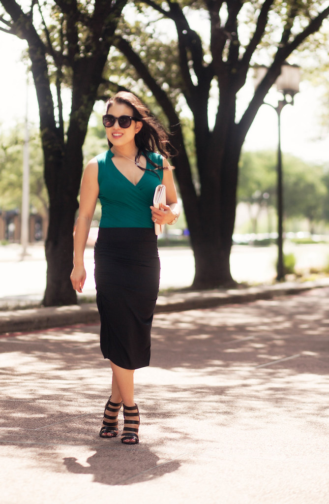 cute & little blog | petite fashion | les lunes emerald green bamboo stretch wrap bodysuit, high-waisted bamboo ruched pencil skirt, tory burch robinson wallet on chain, ann taylor rosie strappy sandals | spring summer outfit