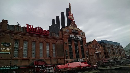 A view of the Power Station in the Inner Harbor before the march.