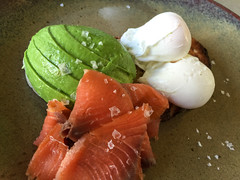 Poached eggs on toast with smoked salmon and avocado at Anvil Coffee Company in Artarmon