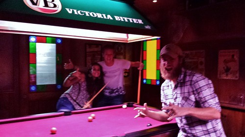 Playing pool with our new friends.