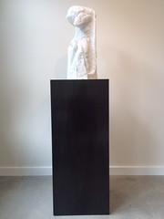 Black Laminate Pedestal with Alabaster Stone Sculpture