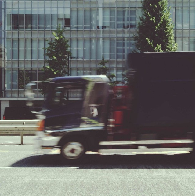 Truck passing through