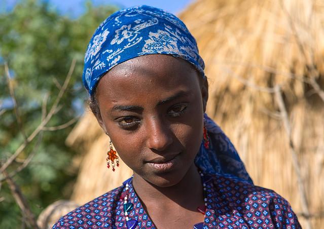 Portrait of an oromo young woman, Amhara region, Artuma, Ethiopia