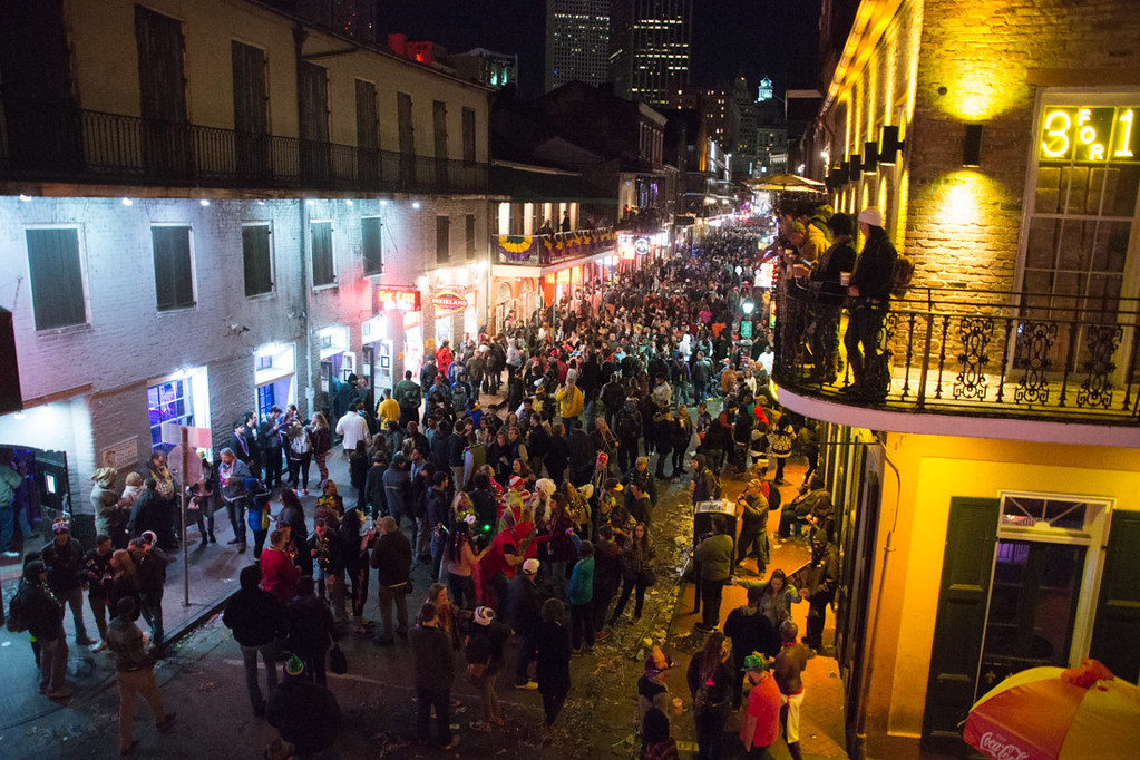 View of Bourbon Street during Mardi Gras
