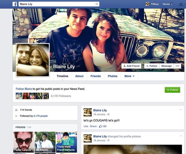 Lily Blaire Facebook Screenshot