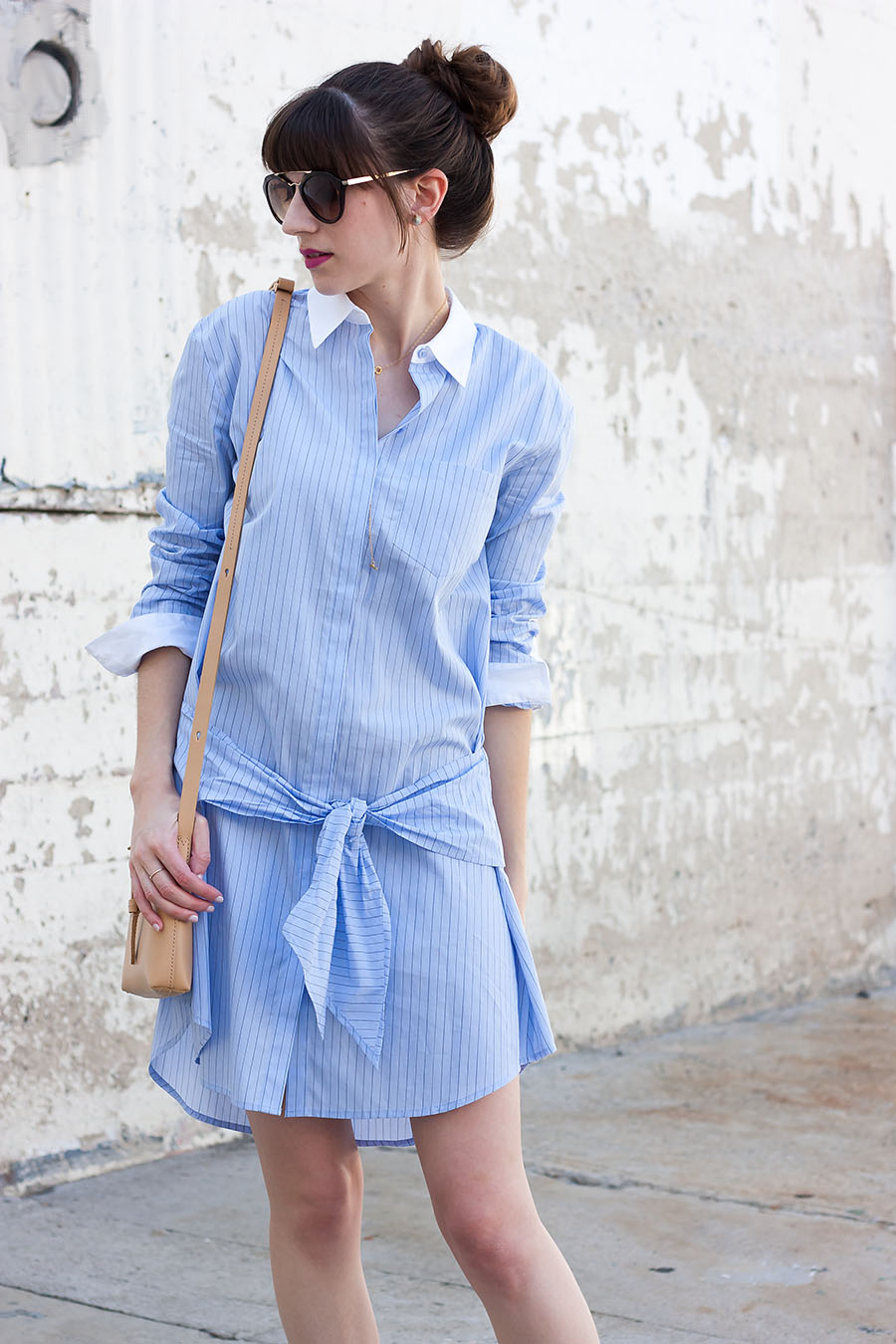 Shirtdress with Tied Waist, Striped Shirtdress, Ditto Prada Sunglasses