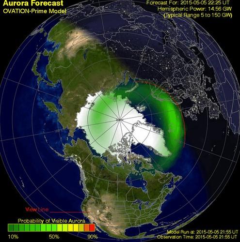 Mapa de auroras boreales
