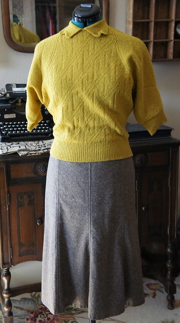 Vintage sweater with modern Pendleton skirt
