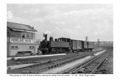 Morlaix. No. E321 entering the sidings from the viaduct. 11.7.62