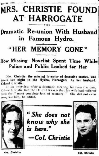 Periódico local hablando del encuentro de Agatha Christie en Harrogate