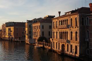 Sunrise on buildings in Venice