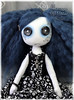 Button eyed Gothic cloth art doll - China Blue