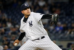 Yankees closer Dellin Betances delivers a pitch in the ninth.