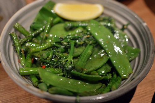Sautéed seasonal greens, chilli