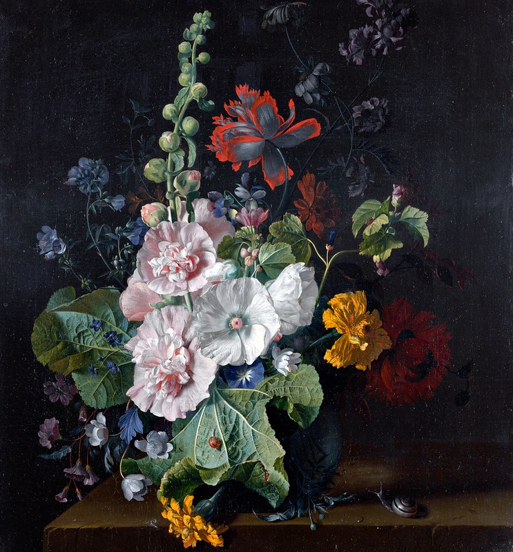 Jan van Huijsum - Hollyhocks and Other Flowers in a Vase (c.1710)