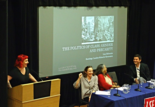 Lisa McKenzie @redrumlisa Research fellow LSE sharing a joke with Stephanie Seguino Prof Economics at the University of Vermont, Naila Kabeer Professor @LSEGenderTweet LSE Gender Institute, and Prof Thomas Piketty from RAW _DSC9414