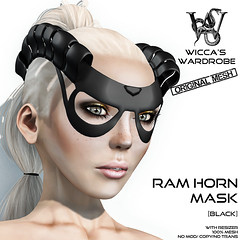Wicca\'s Wardrobe - Ram Horn Mask (Black) Vendor