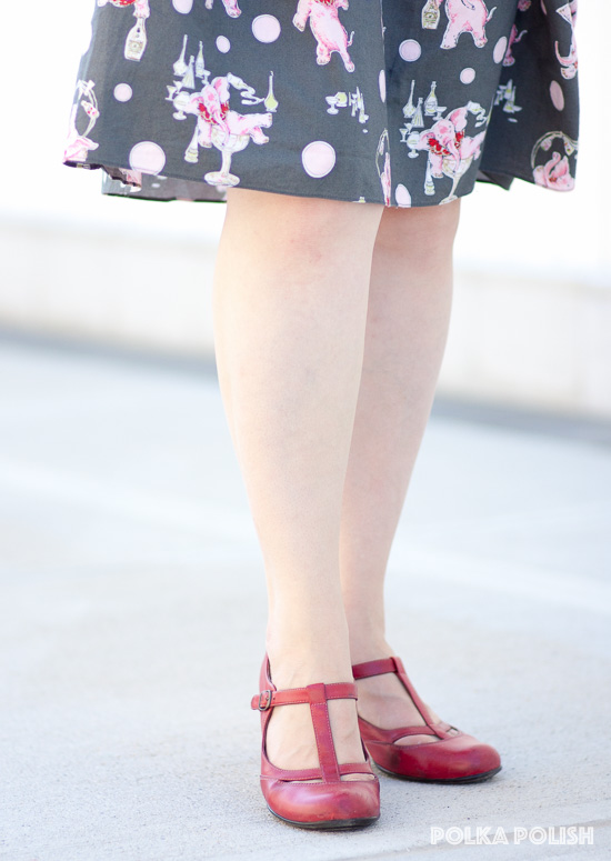 Red T-strap pumps by Sofft are comfortable for all-day wear while still looking sharp