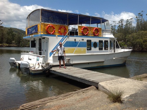 Owner Peter Mannow & Free Spirit Cruise Boat at Wharf, Coolongolook River, Coolongolook, NSW 16.11.2014