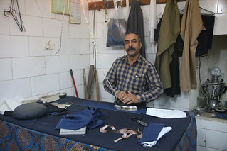 In a blokes sewing shop in the Bazaar