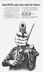 WWTC trades violins for violence, 1975