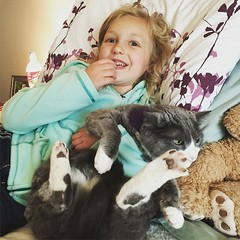 Poor kitty. Thankful she is tolerant and loves her little people.