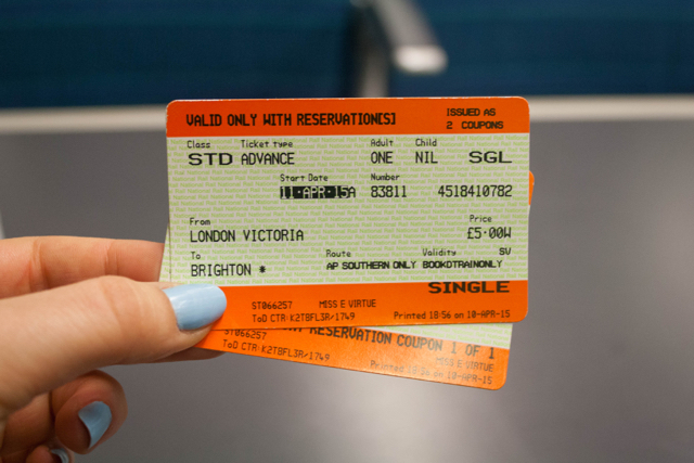 Train tickets to Brighton.