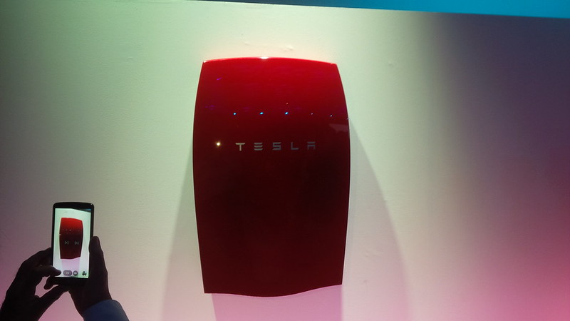 The @TeslaMotors Home Battery solution in a nice red! #TEatTesla