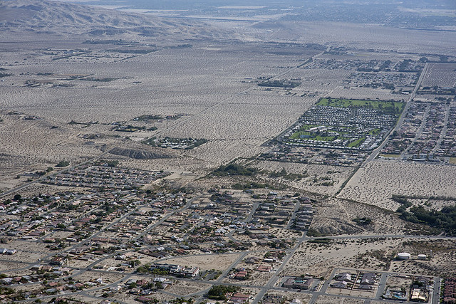 Aerial view of Desert Hot Springs and the Mission Creek Strand of the San Andreas Fault Zone, Riverside County, California