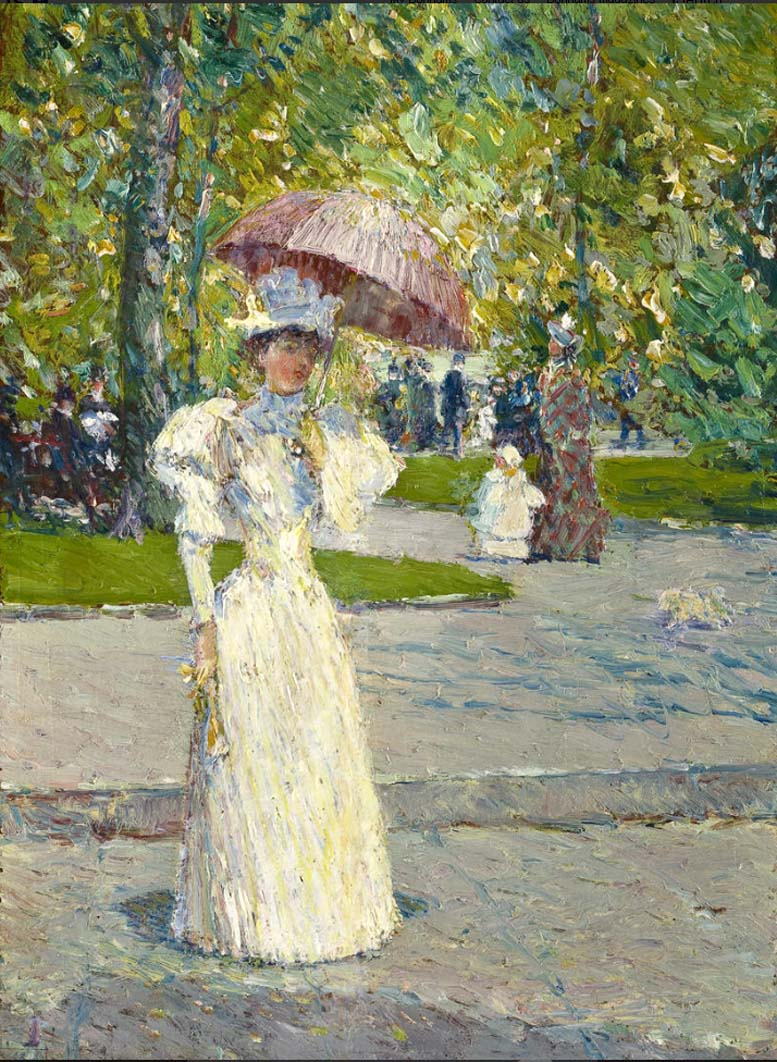 Woman with a Parasol in a Park by Frederick Childe Hassam - 1891