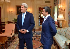 U.S. Secretary of State John Kerry and United Arab Emirates Foreign Minister Abdullah bin Zayed prepare for a meeting at the U.S. Department of State in Washington, D.C. on July 29, 2016. [State Department Photo/ Public Domain]