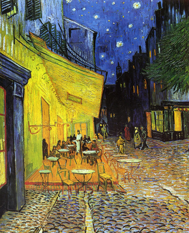 The Cafe Terrace on the Place de Forum, Arles, At Night by Vincent van Gogh - 1888