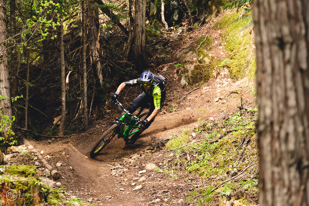 Dylan Wolsky of The Nomads, pushing hard on Hawaii trail, Pemberton