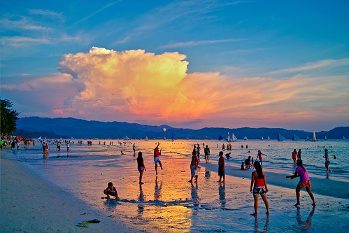 sunset white beach philippines boracay