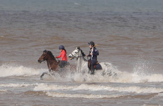 Image of Ulrome Sands. sea horse yorkshire salt fraisthorpe riders