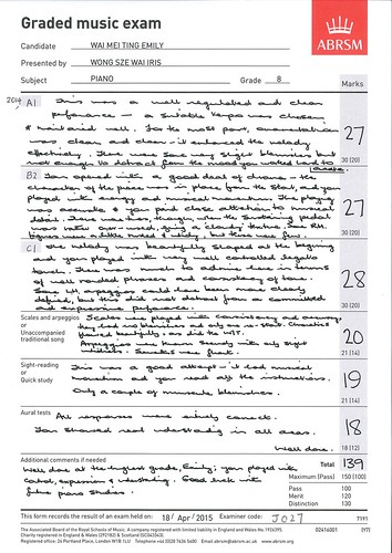Graded music exam ABRSM Candidate Presented by Marks 30 1200 21 114 21 114 Tota31 This form records the resutanem held on: 18 2015 Eaminer code,text,font,line,paper,document