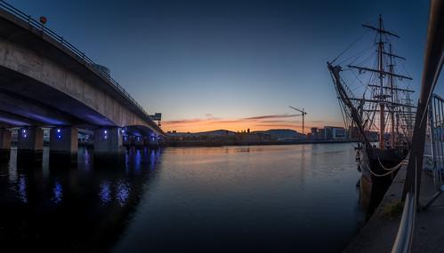 bridge blue sunset sea panorama color colour wet water ship cityscape harbour yacht belfast sail northernireland titanic tallships hdr sailingship maritimefestival