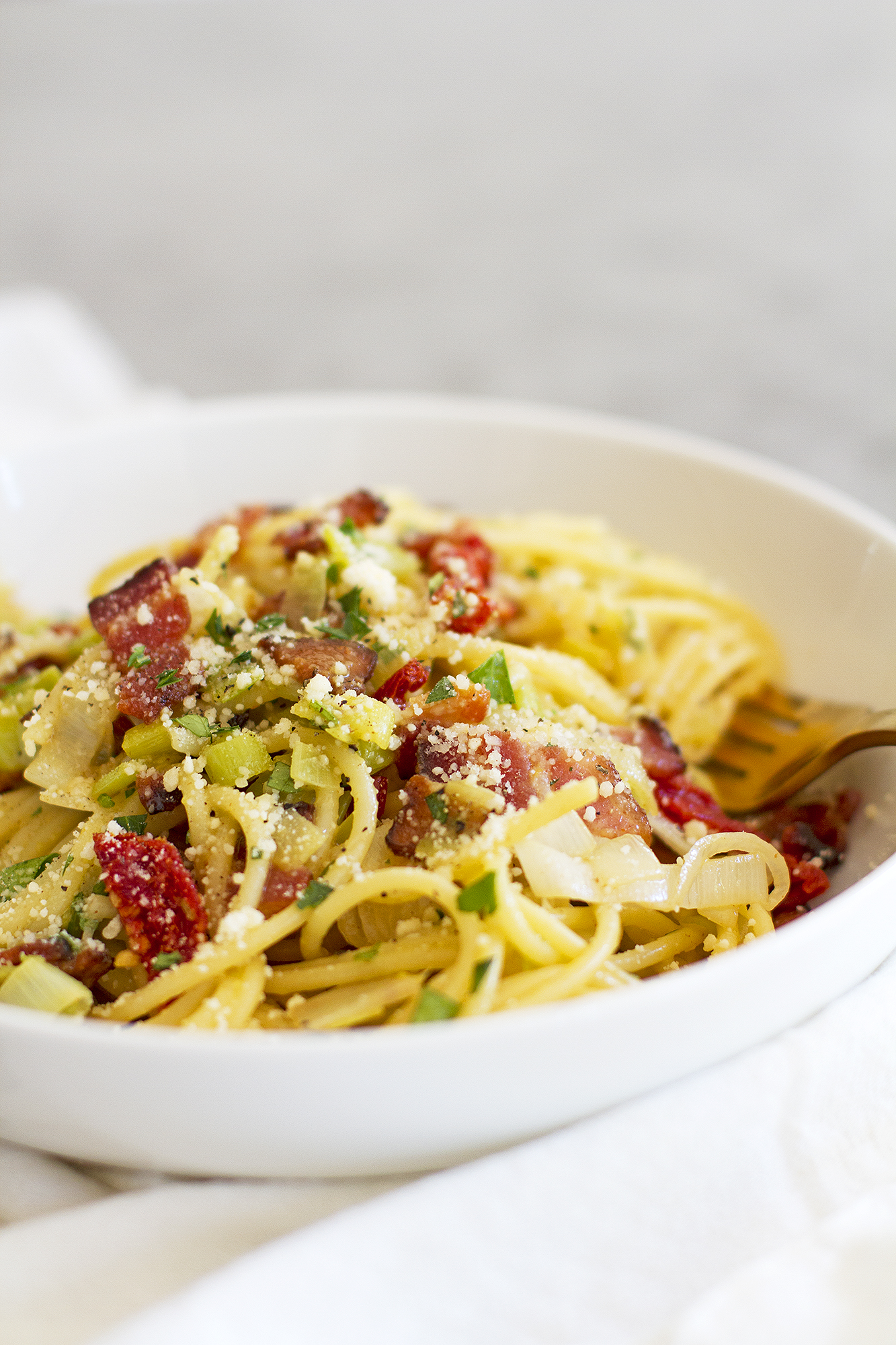 And two, because this pasta carbonara with leeks and sun-dried ...