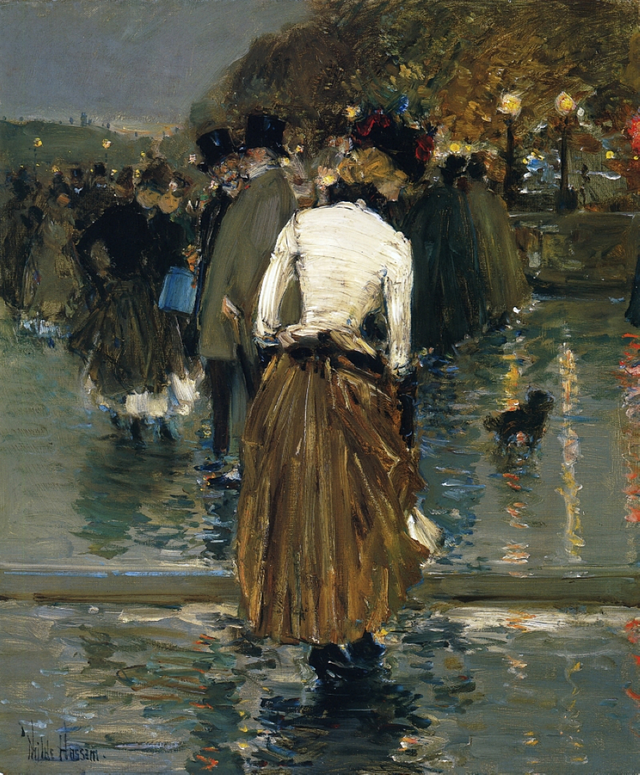 Promenade at Sunset, Paris by Frederick Childe Hassam - 1888-1889