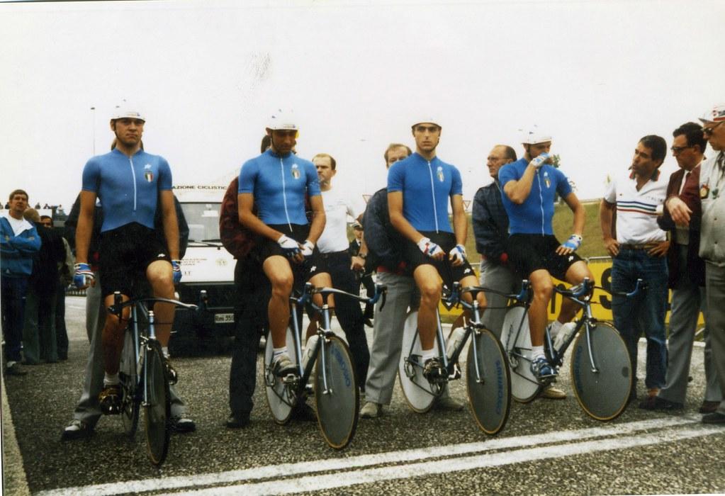 Alla partenza campionato del mondo allievi 1988: Andrea Peron - Gianfranco Contri - Gianluca Tarocco - Alessandro Bacciottini