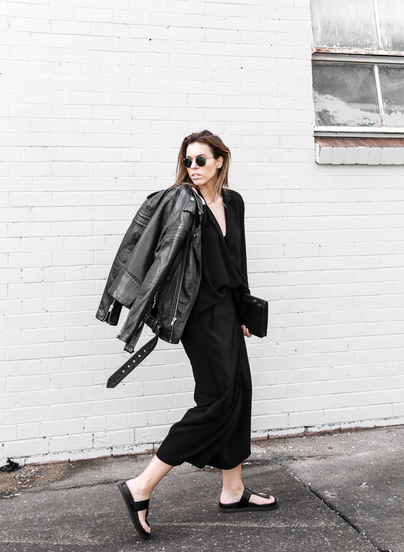 modern legacy, fashion blog, street style, leather jacket BLK DNM, BC x MODERN LEGACY, all black, Alexander Wang slide sandals, transseasonal (1 of 1)