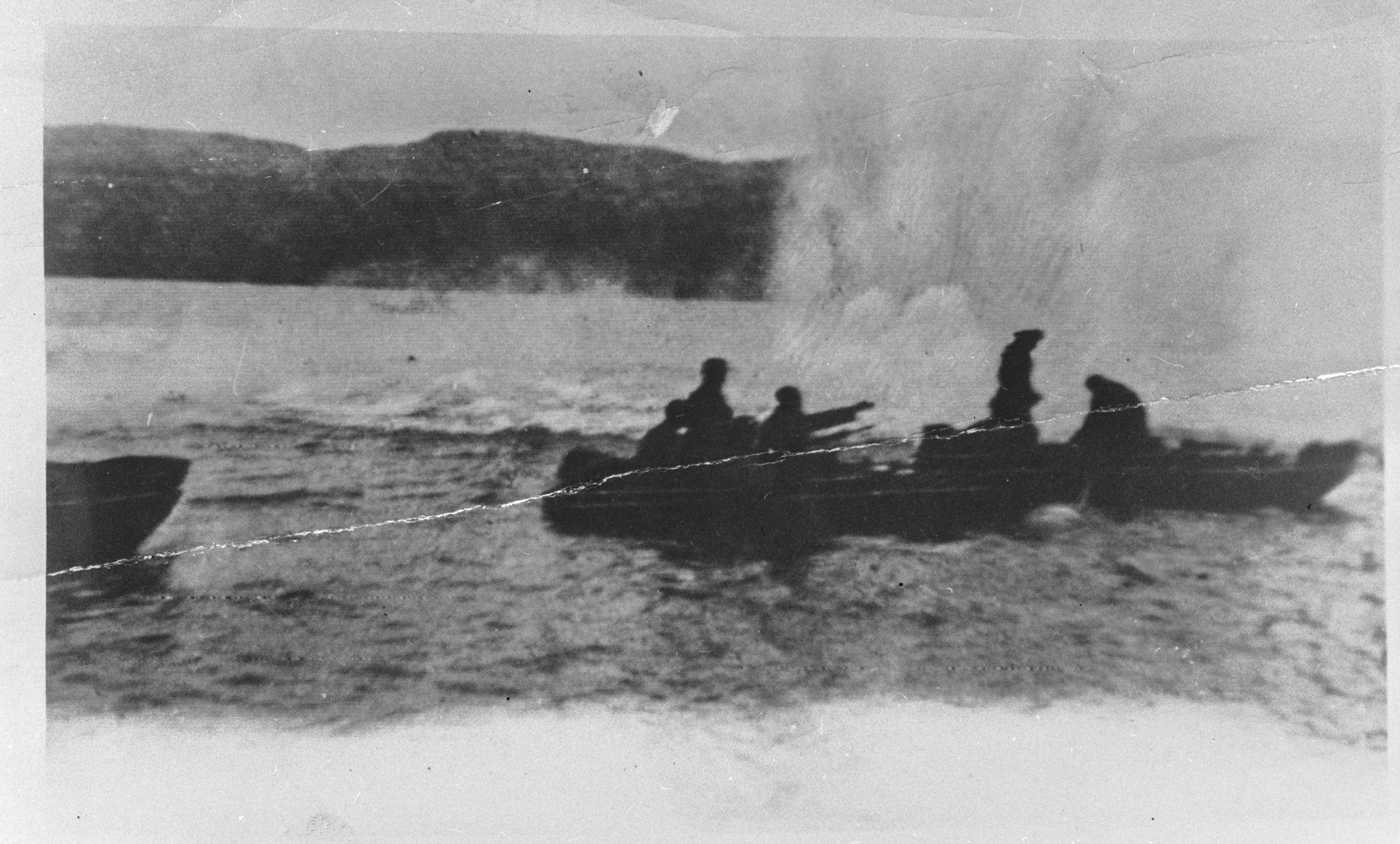 Soviet troops forcing a fjord on their way to Kirkenes, Norway