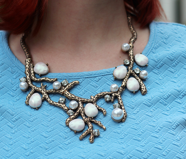 Pearl Detail Bronze Tree Branch Necklace
