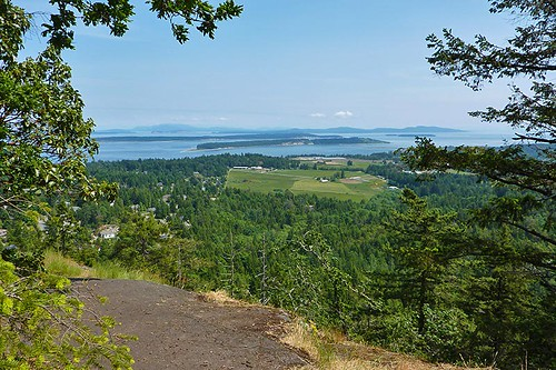 View of James Island and Haro Strait from John Dean Park, Mount Newton, North Saanich, Victoria, Vancouver Island, British Columbia, Canada