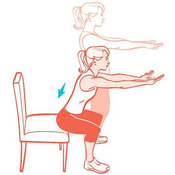 3. Chair Squats