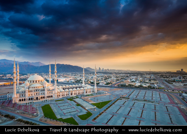 United Arab Emirates - UAE - Fujairah - Sheikh Zayed Grand Mosque during dramatic stormy sunrise